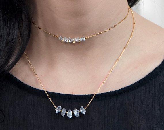 Necklace Set. Herkimer Diamond Necklace and Choker. Two Necklaces. April Birthstone. Raw Crystal.In Gold Filled, Silver, Rose Gold. N2606-HD