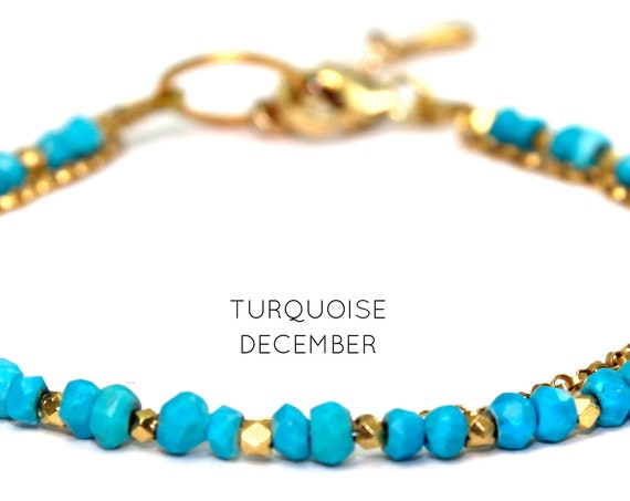 Turquoise Charm Bracelet. December Birthstone. Healing Stones. Double Strand Bracelet. Dainty Jewelry. Gold Filled, Silver, Rose Gold. B2602