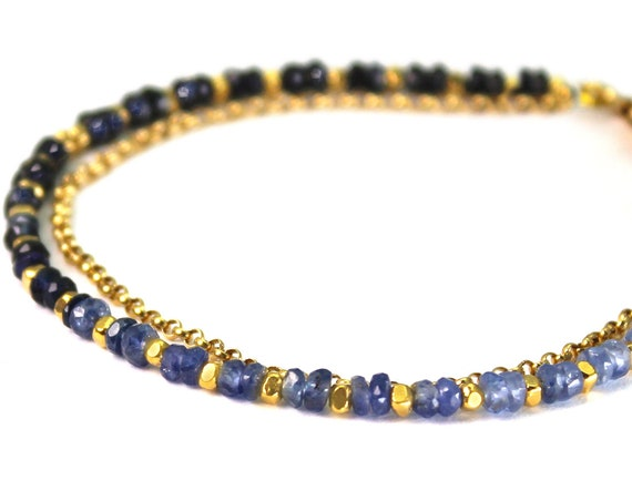 Sapphire Bracelet. September Birthstone. Healing Stone, Double Strand Bracelet.  Bridesmaid Gift. Gold Filled, Silver, Rose Gold. B2602