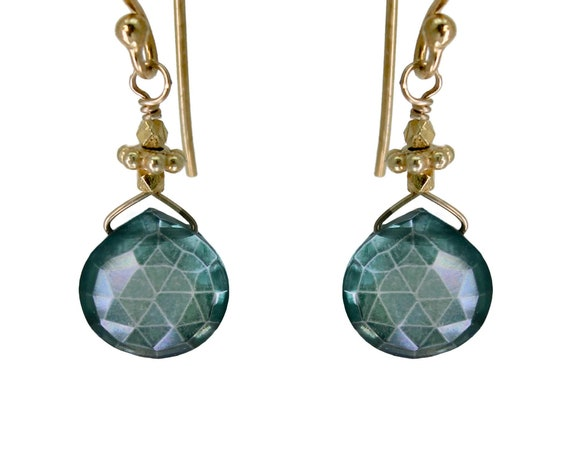 Teal Mystic Topaz Gemstone Earrings. Handmade With Love. 22k Gold Vermeil or Sterling Silver.