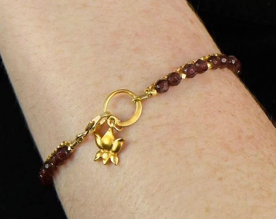 Garnet Charm Bracelet. January Birthstone. Healing Stone, Double Strand Bracelet.  Bridesmaid Gift. Gold Filled, Silver, Rose Gold. B2602