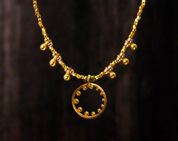 Limited Edition. Eternity Necklace. Unique design. Circle of Life Necklace.  With Hill Tribe Silver or Vermeil Accents.
