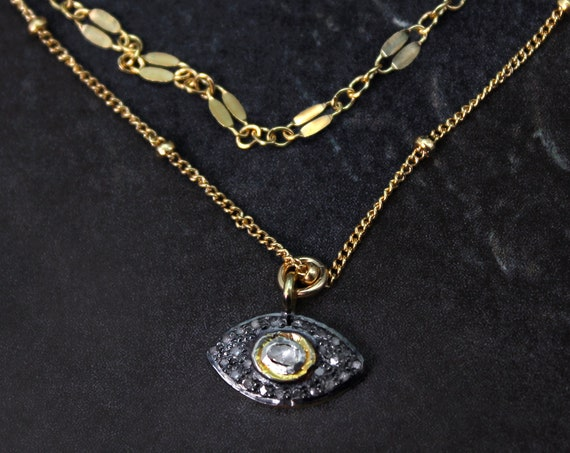 Pave Diamond Multi Strand Evil Eye Necklace. Nazar Talisman to Protect You from Harm.