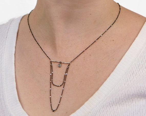 Pave Diamond Bar and Chain Drop Necklace. Elegant and Unusual.