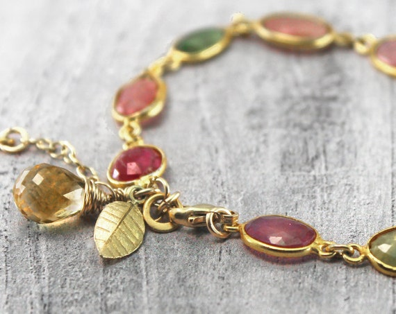 Pear Bracelet. Delicious Multi Tundra Sapphire Bracelet. Bezel Set Ombre Bracelet, With a Citrine Pear. Gift wrapped and Adjustable. B2837