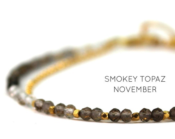 Smoky Topaz Bracelet. November Birthstone. Healing Stone, Double Strand Bracelet.  Bridesmaid Gift. Gold Filled, Silver, Rose Gold. B2602
