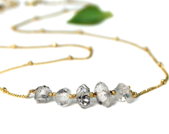 Herkimer Diamond Necklace, April Birthstone. Raw Natural Crystal. Birthstone Options. In Gold Filled, Silver, Rose Gold. N2606-HD