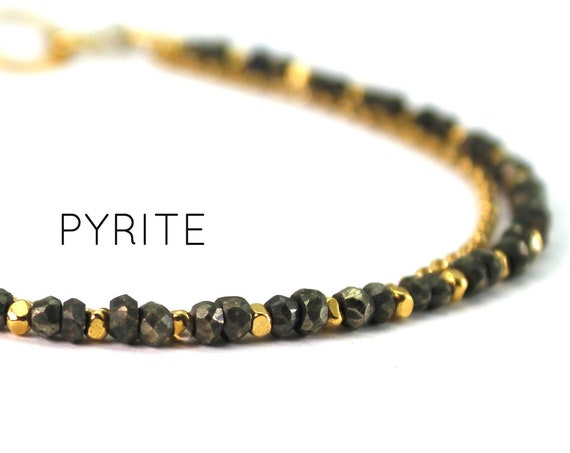 Pyrite Bracelet. Fools Gold Birthstone. Healing Stone, Double Strand Bracelet.  Bridesmaid Gift. Gold Filled, Silver, Rose Gold. B2602