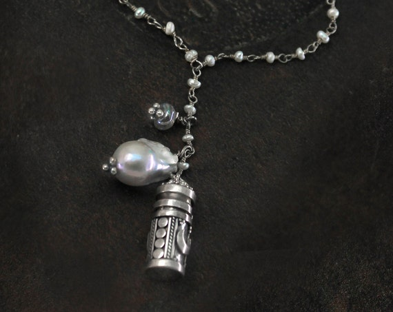 Perfume Bottle Necklace. Pearl Necklace. Y Necklace. Snuff Necklace. Opens and closes. Talisman Amulet Prayer Box. Gold or Silver. N2608