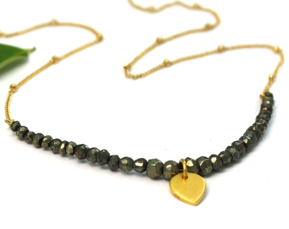 Pyrite Necklace, Yoga Necklace. Lotus Petal Charm. Boho and Minimal. Beaded Necklace, Gift Wrapped and Adjustable. Handmade. N2617
