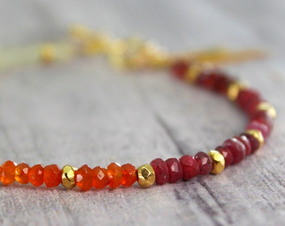 Ruby and Carnelian Charm Bracelet, Lightning bolt and Multi Strand Bracelet, Gift for Girlfriend in 14k Gold Filled or Silver, B2803