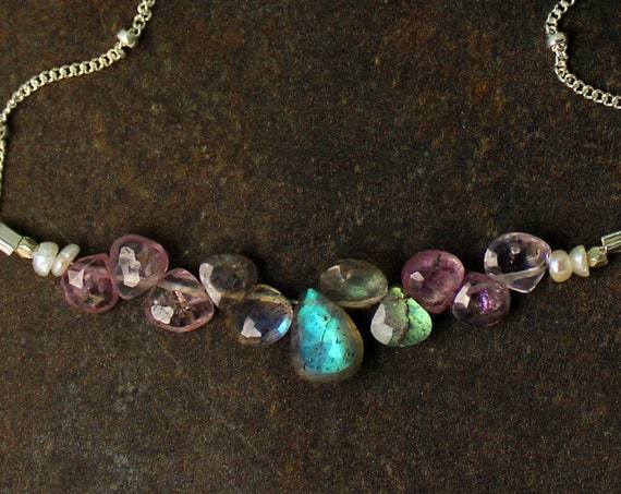 Pink Spinel and Labradorite Briolete Bar Necklace. Perfet Gift for Bridesmaids. Gold, Silver or Rose Gold.