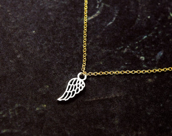 Tiny Angel Wing Necklace. In Your Choice of Mixed Metals.  Pet Memorial Gift. Gift for Child, Gift for Girlfriend