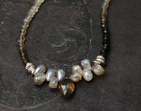 Ombre Beaded Gemstone Necklace. Silverite and Smoky Quartz Necklace. Neutral Colors. N2504