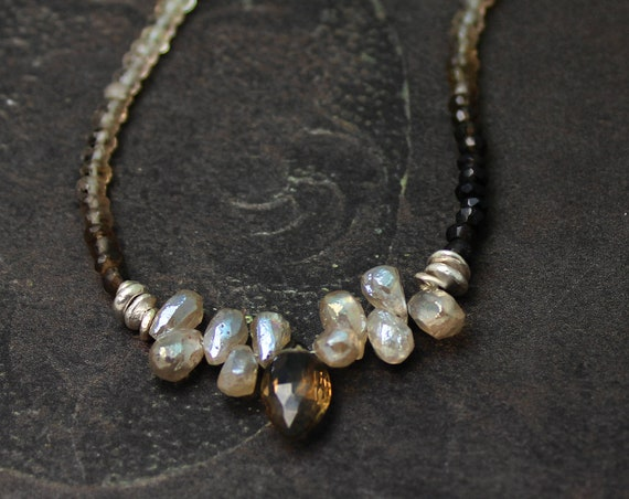Ombre Beaded Gemstone Necklace In Silverite and Smoky Quartz. Subtle Neutral Colors.