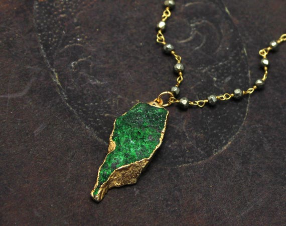 Uvarovite Druzy necklace. One of a kind necklace. OOAK. Rare Green Uvarovite. Gold Dipped, Geode jewelry. Pyrite Chain.