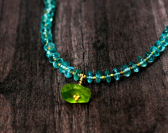 Apatite and Peridot, Beaded Necklace. WIth Peridot Nugget and  Hill Tribe Silver accents. In Gold, Rose Gold or Silver