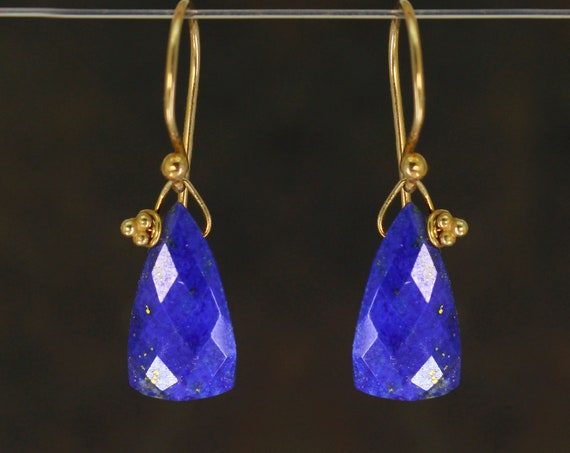 Lapis Lazuli Gemstone Earrings with Triangle Briolettes.  Gift Wrapped.  22k Gold Vermeil or Sterling Silver.