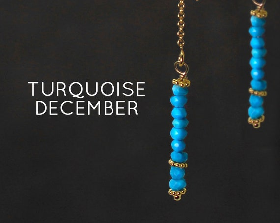 December Birthstone. Turquoise Threader Earrings.  Healing Crystals.  Threader with Arch. Long Earrings, Gold Filled or Silver, E2622