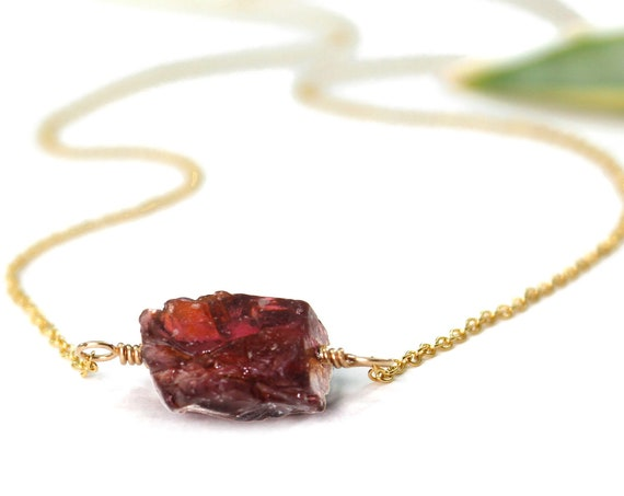 January Birthstone. Red Garnet Necklace. Raw Stone Necklace. Healing Crystals. Gold Filled, Silver, Rose Gold. N1924