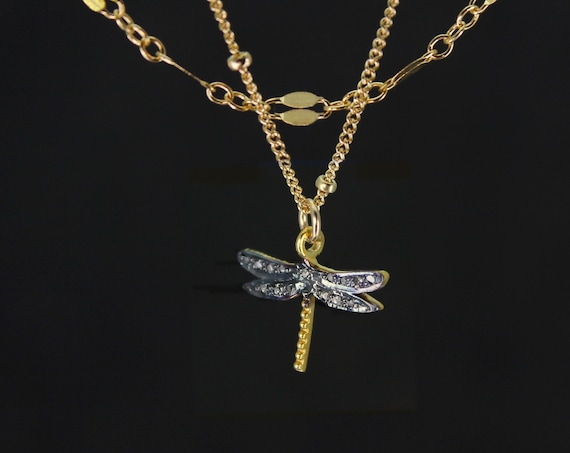 Pave Diamond Dragonfly Necklace. Divorcee Gift, A Short Multi Strand Necklace that Blesses Change and Transition. Diamond Jewelry,  N2845