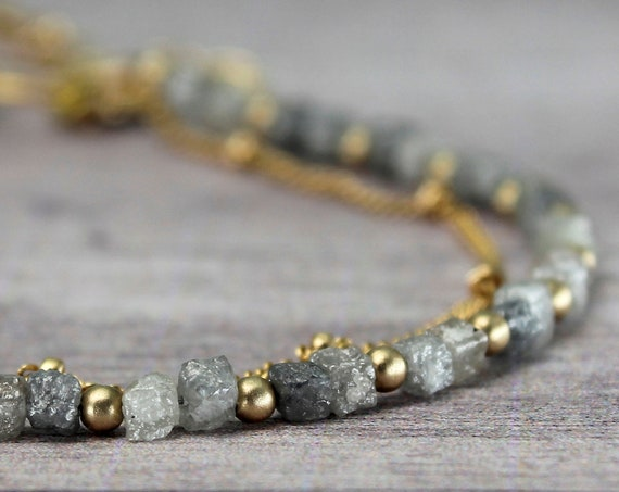 Rough Diamond Bracelet. Raw Healing Stones, Adjustable length. Gift for mom. Gold Filled, Silver, Rose Gold. B2802