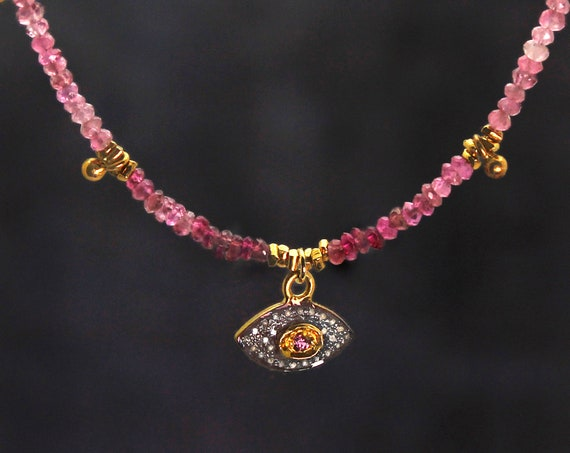 Pave Diamond Evil Eye Necklace to Protect you from Harm, In Ombre Pink Tourmaline.