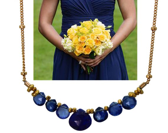 Lapis Lazuli and Kyanite Necklace. Navy Blue Bridesmaid Gifts. Wedding Color Match Service. Multi Gemstone Necklace.  N2410