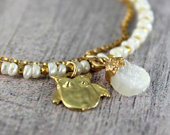 Wise Owl Bracelet,  Charm Bracelet, Druzy Bracelet.  Multi Strand Bracelet. Pearls of Wisdom, Graduation Gift. Gold Filled or Silver, B2804