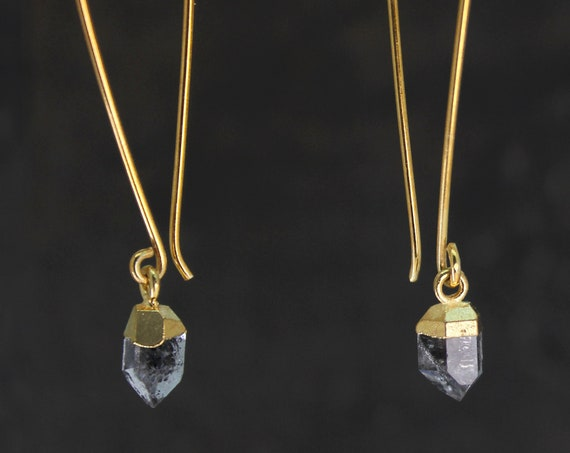 Herkimer Diamond Earrings. Long Earrings. April Birthstone. Healing Stones, Raw Stone Earrings. Gold Dipped Earrings. E2626
