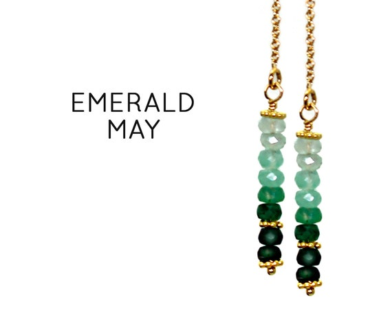 Emerald Earrings. Green Threader Earrings. May Birthstone. Healing Stones. Vertical Bar Studs. Gold Filled, Silver, Rose Gold. E2621