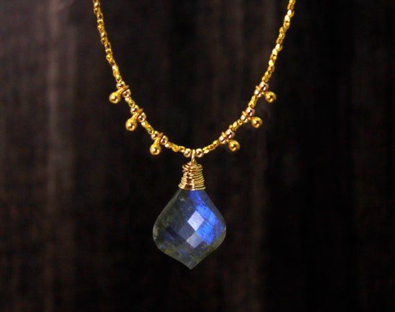 One of a Kind. OOAK. Labradorite Beaded Necklace. Irridescent Blue and Gray Stone, For Insight in Times of Transition.