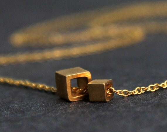 Minimal Mother and Child Cube Necklace. In Your Choice of Mixed Metals.  Unique Gift for Mom.