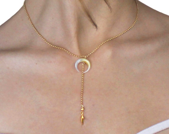 Double Horn Necklace, Crescent Moon Necklace. Y Necklace with Drop. In Gold filled and  Sterling Silver. N2601