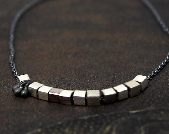 Unique Cube and Bobble Necklace. Mixed Metals in Black and Silver or Black and Gold.