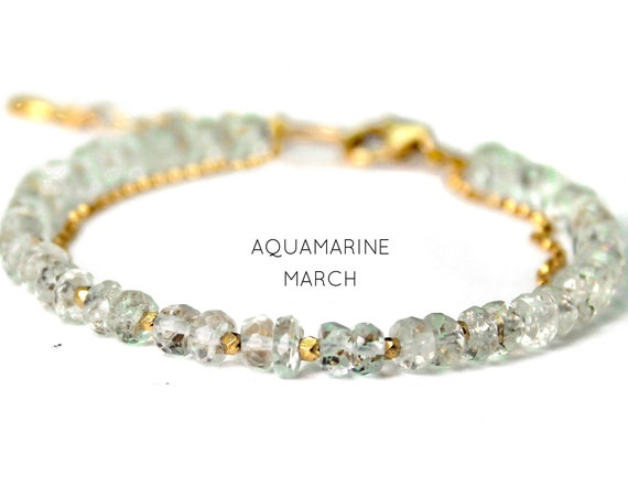 Aquamarine Charm Bracelet. March Birthstone. Healing Stones, Adjustable Bracelet. Two Strand Bracelet. Gold Filled, Silver, Rose Gold. B2602