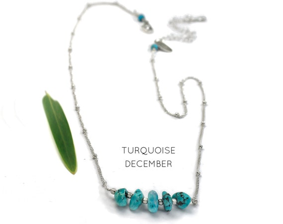 December Birthstone. Turquoise Necklace,Raw Stone Necklace. Healing Crystals. Travellers' Protection. Gold Filled, Silver, Rose Gold. N2620