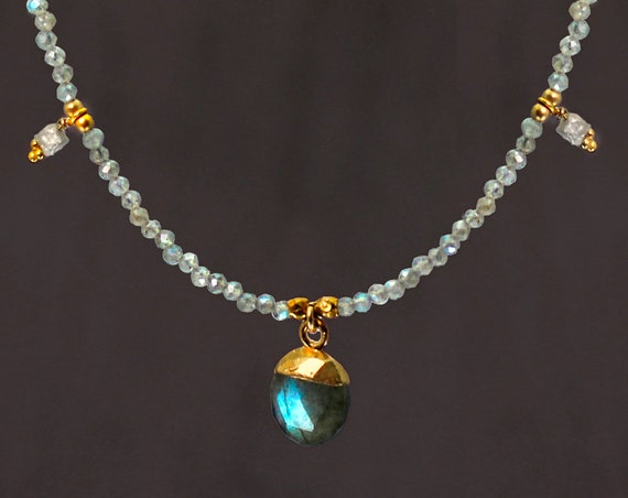 Labradorite Drop Necklace. Iridescent Blue Flashes Dipped in Gold, For Insight in Times of Transition. With Tiny Raw Diamond Accents. N2807
