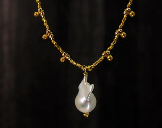 Limited Edition. Fireball Baroque Pearl Beaded Necklace. With Hill Tribe Silver accents.