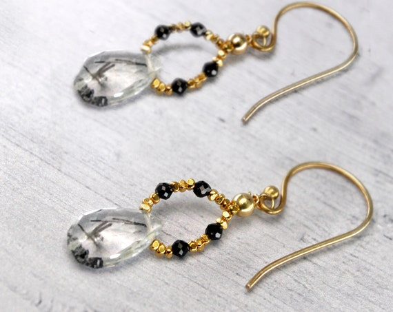 Spinel and Rutilated Quartz Earrings. Black and White Gemstones. In Gold Filled, Silver or Rose Gold Filled.