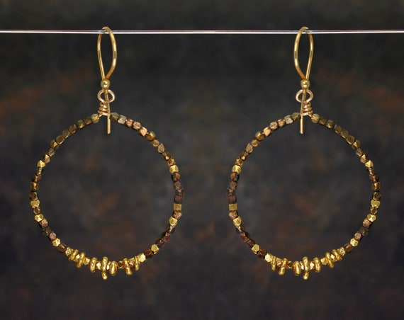 Mixed Metals, Beaded Hoop Earrings. Circle Earrings. Boho Earrings. Antique Brass and Vermeil nuggets. In Rose Gold, Gold or Silver. E2631