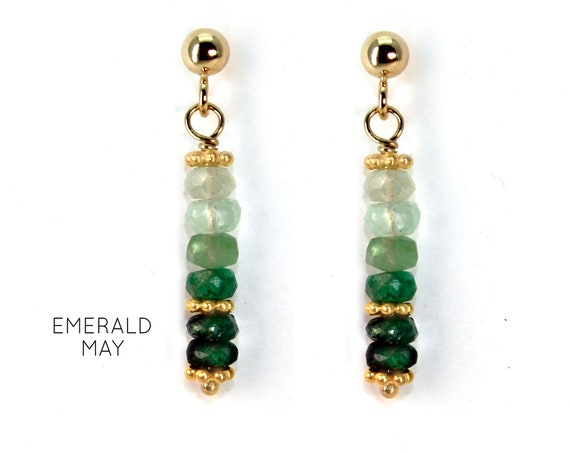 Emerald Earrings, Green Post Earrings. May Birthstone. Healing Stones. Vertical Bar Studs. Gold Filled, Silver, Rose Gold. E2621