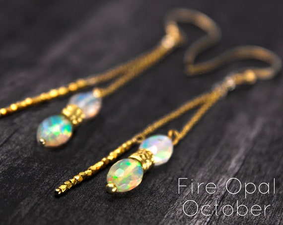 Fire Opal Earrings, Unique long Earrings, Long Stick and Chain Earrings. October Birthstone. In Gold, Silver,or Rose Gold. E2870