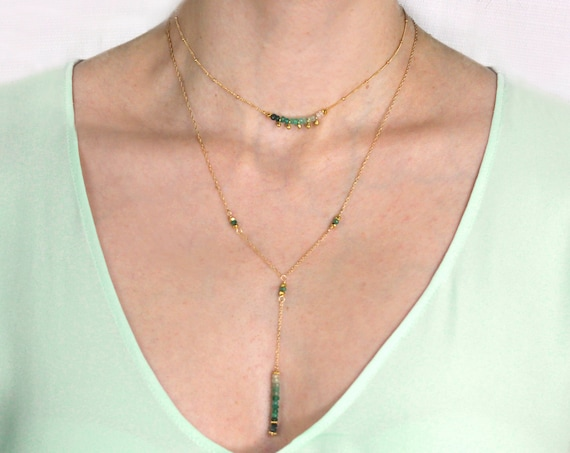 Emerald Y Necklace. Birthstone Jewelry. Adjustable Lariat. Lots of choices. In Gold Filled, Silver, Rose Gold. N2604