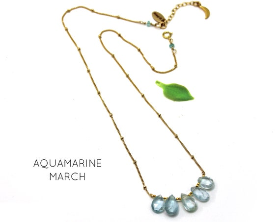 Aquamarine Necklace. March Birthstone. Multi Stone Necklace. Gift for Mom. Birthstone Options. In Gold Filled, Silver, Rose Gold. N2606-HD