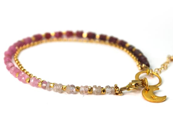Ruby Charm Bracelet. July Birthstone. Healing Stones, Double Strand Bracelet. Dainty Jewelry. Gold Filled, Silver, Rose Gold. B2602