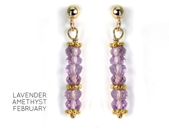 Amethyst Earrings, Gemstone Post Earrings. February Birthstone. Healing Stones. Vertical Bar Studs. Gold Filled, Silver, Rose Gold. E2621