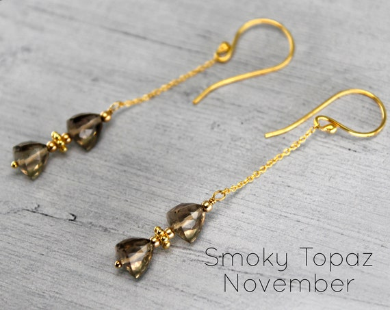 Smoky Topaz Earrings, Unique long Earrings, Long Stick and Chain Earrings. November  Birthstone. In Gold, Silver,or Rose Gold. E2870