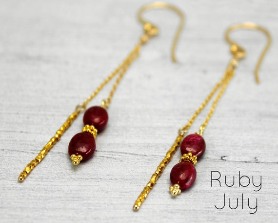Ruby Earrings, Unique long Earrings, Long Stick and Chain Earrings. July Birthstone. In Gold, Silver,or Rose Gold. E2870