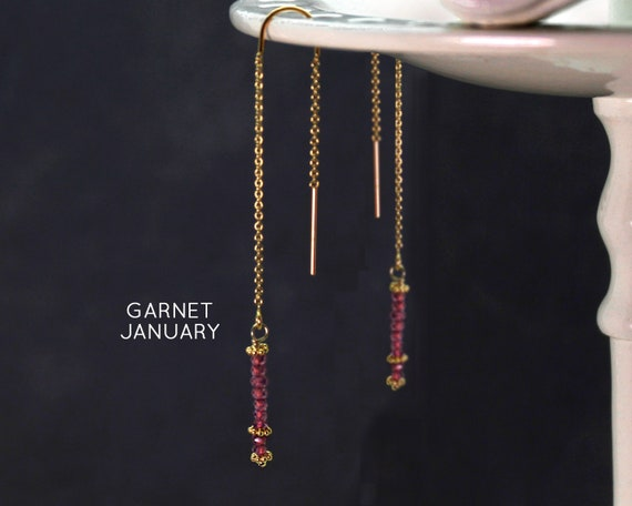 January Birthstone. Garnet Threader Earrings. Healing Stones,  Threader with Arch. Long Earrings, Gold Filled or Silver, E2622